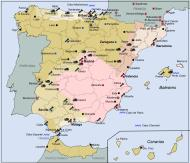 Asisbiz Artwork showing a map of the map showing battles areas during the Spanish Civil War 0A