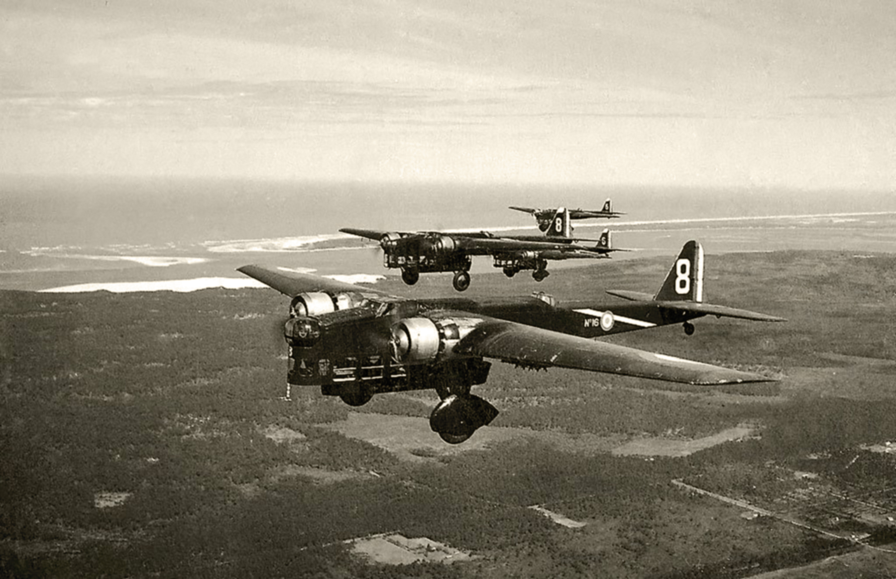 French Airforce Amiot 143 No16 in formation over the French coast 01