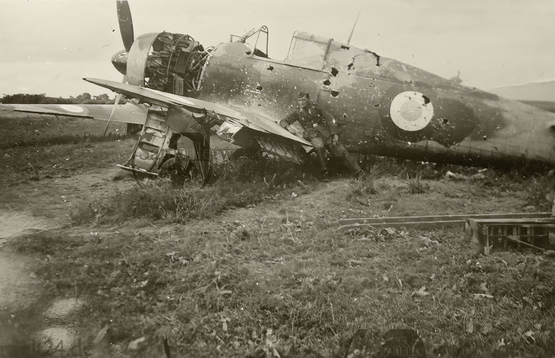 French Airforce Bloch MB 152C1 sits grounded at a French airbase France 1940 ebay 01