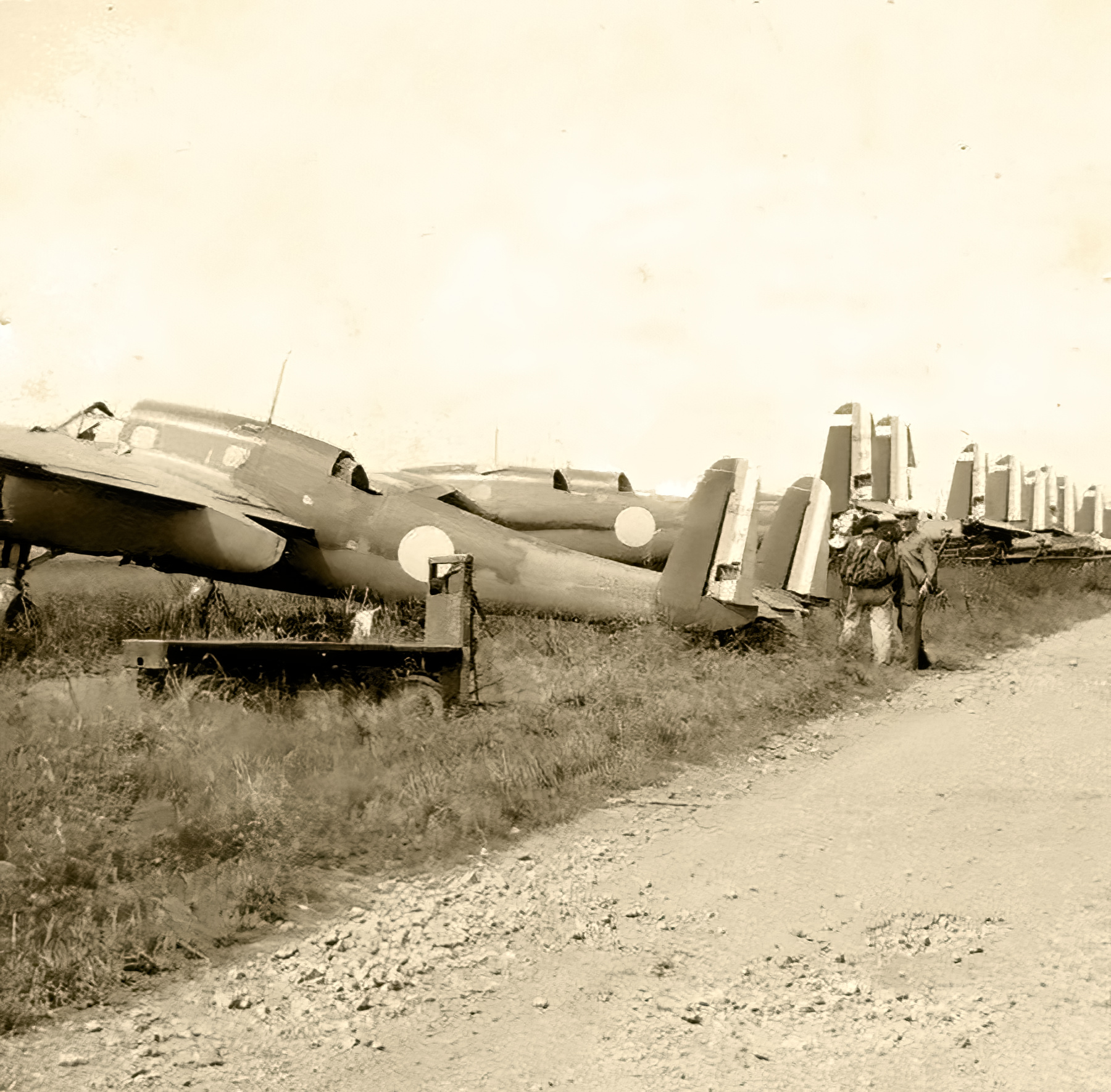 French Airforce Breguet Bre 690 a row of abandoned aircraft sit after the fall of France June 1940 01
