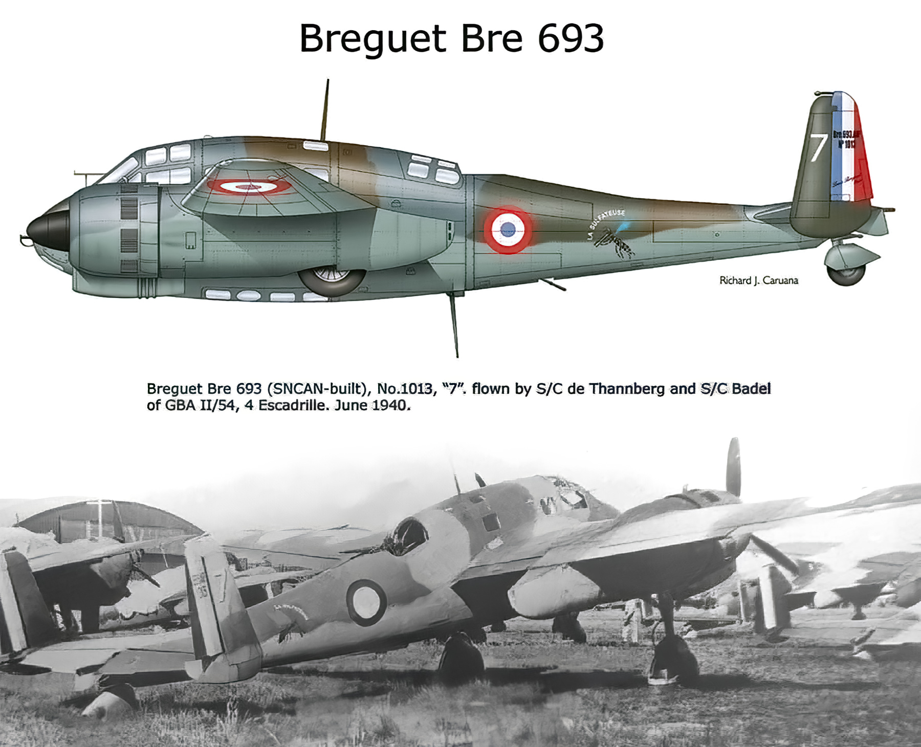 French Airforce Breguet Bre 693 sn1013 GBA II.54 France Jun 1940 profile 0A