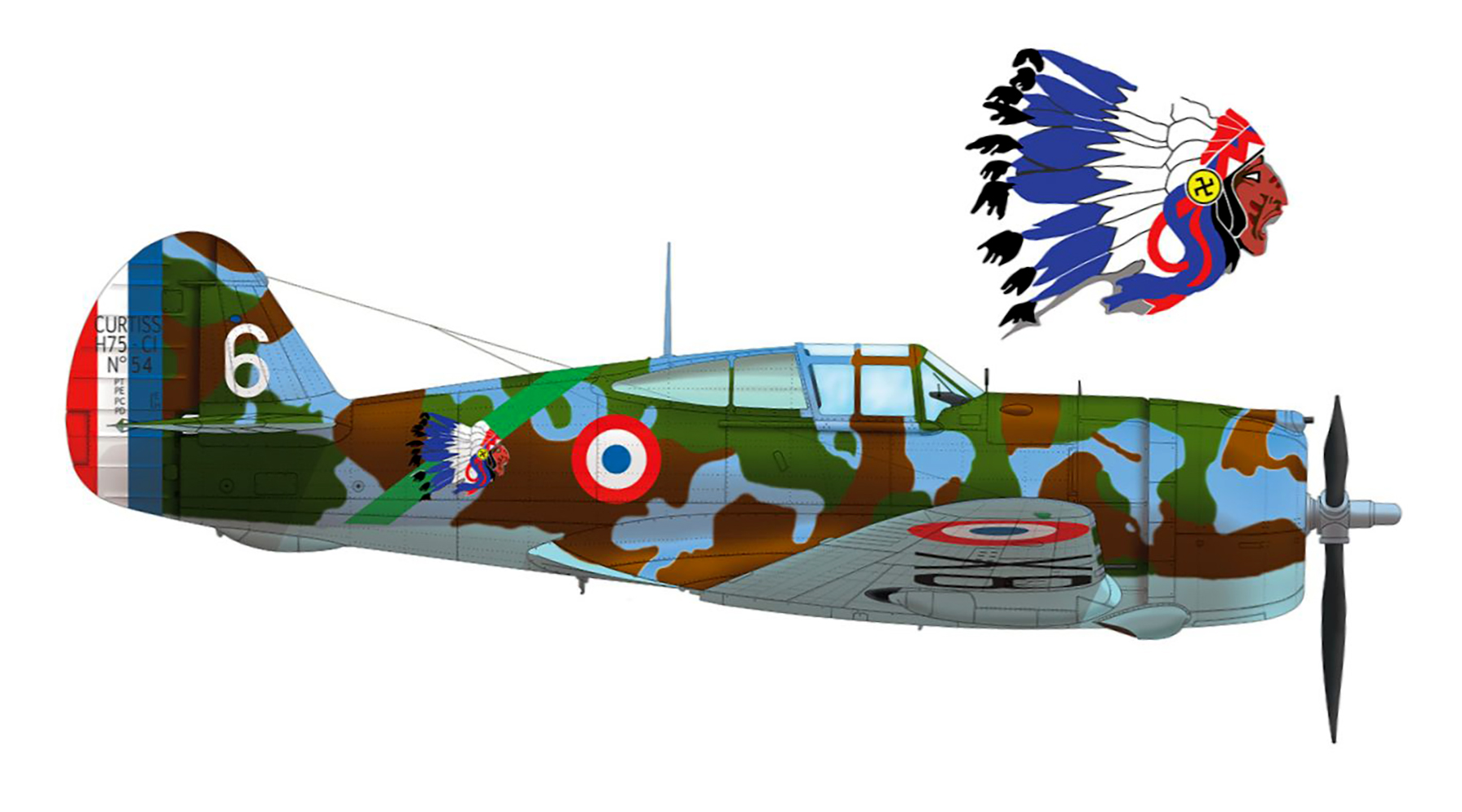 French Airforce Curtiss H 75A1 Hawk 3rd flight of Groupe de Chasse II 5 Armee de l Air Jun 1940 wiki 01