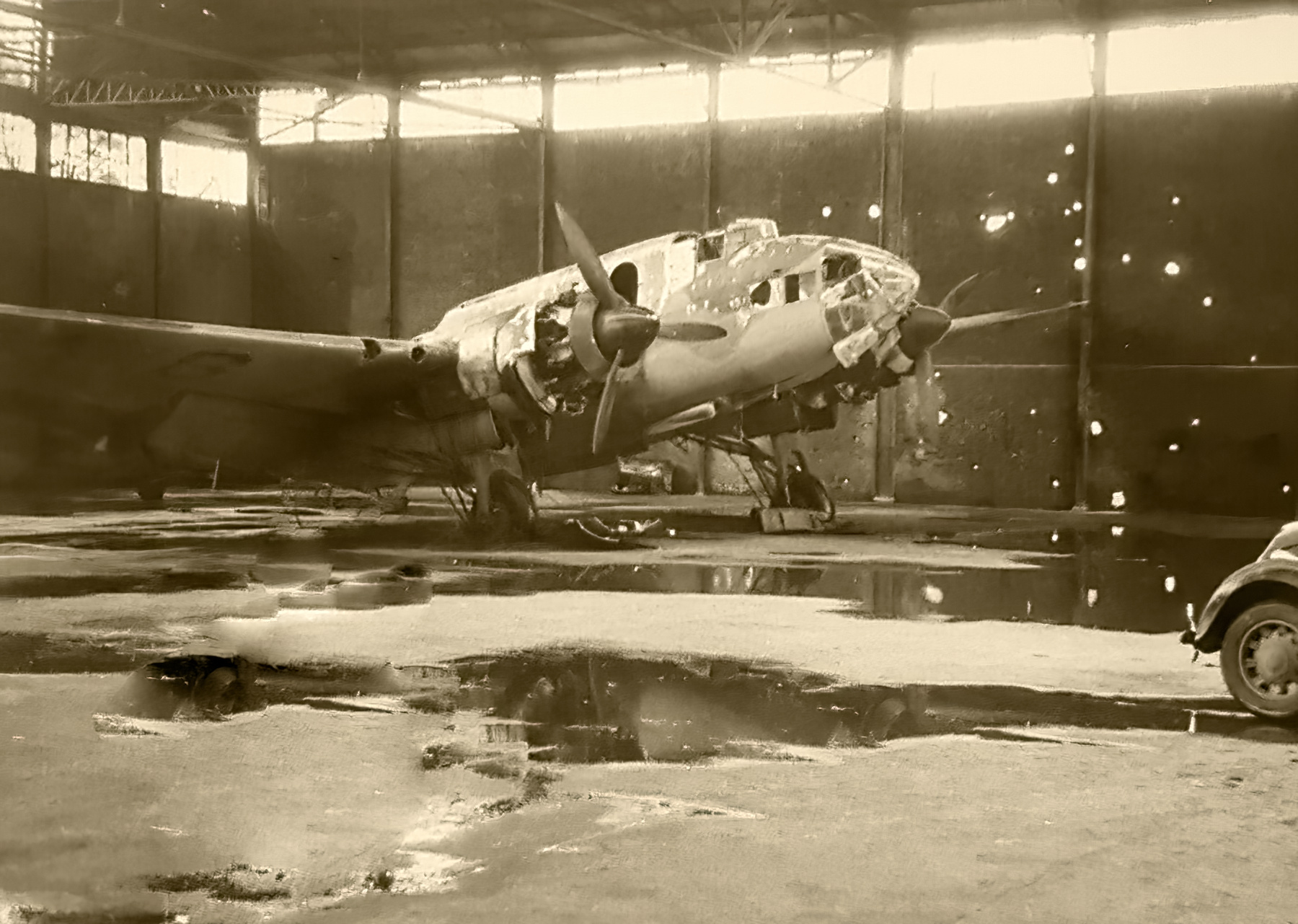 French Airforce Liore et Olivier LeO 451 abandoned in a hangar France 1940 ebay 01