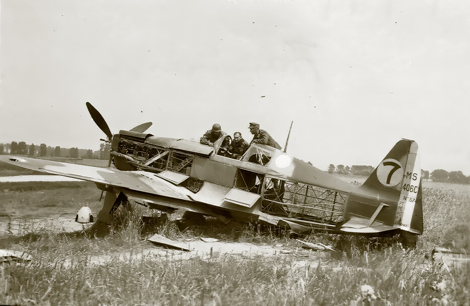 French Airforce Morane Saulnier MS 406C sn574 destoryed when grounded France May Jun 1940 ebay 01