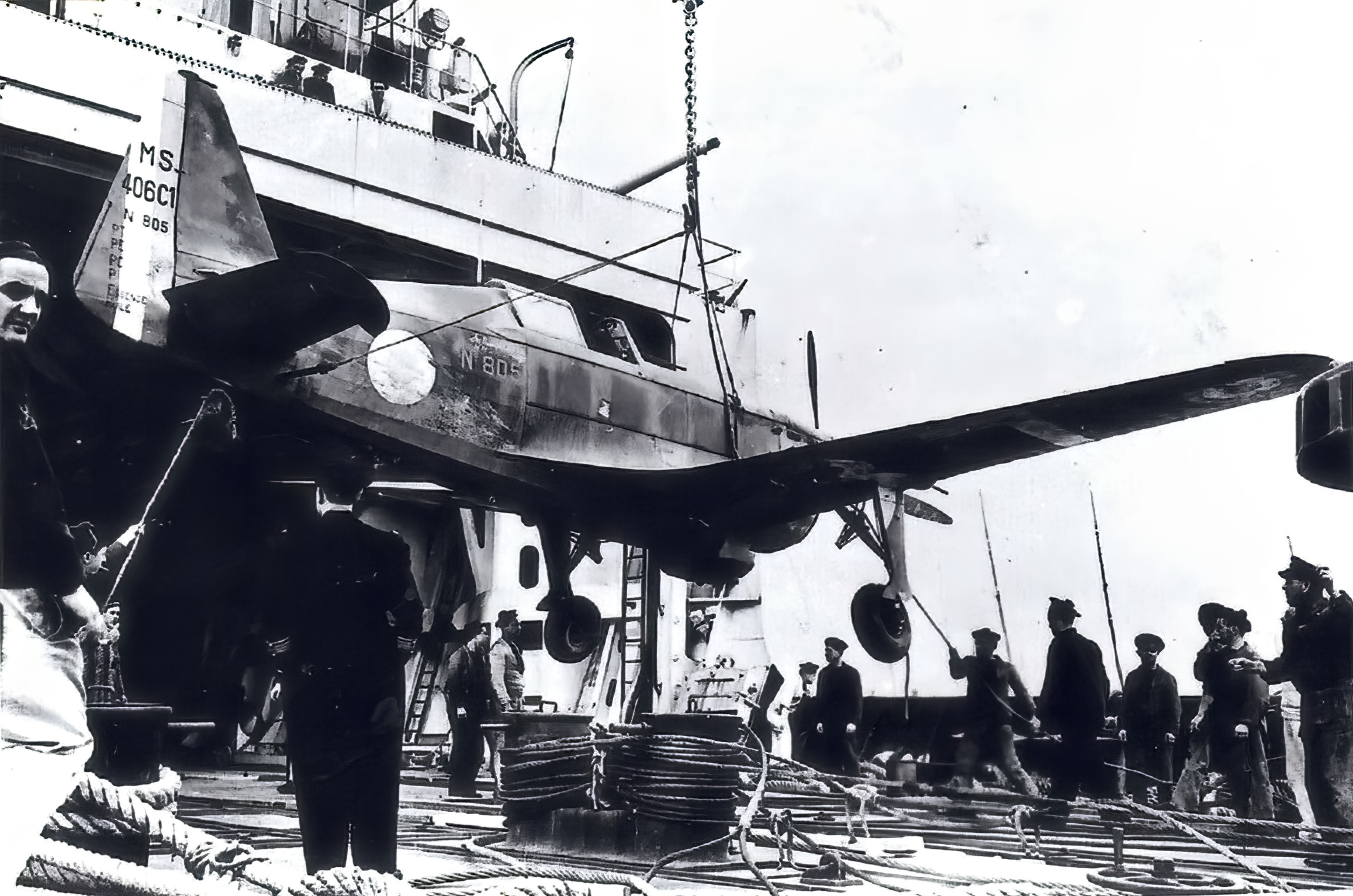 French Airforce Morane Saulnier MS 406C sn801 being loaded abaord a French Navy ship ebay 01