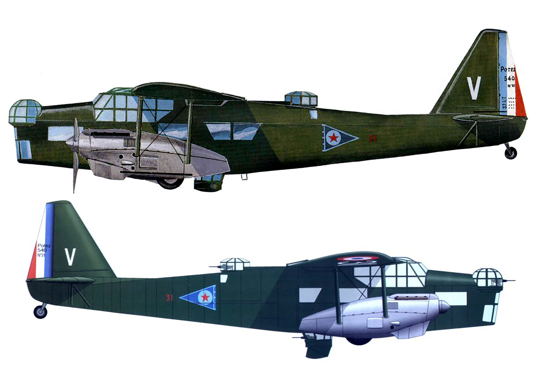 French Airforce Potez 540 sn31 Red 31 battle of France 1940 profile 0A