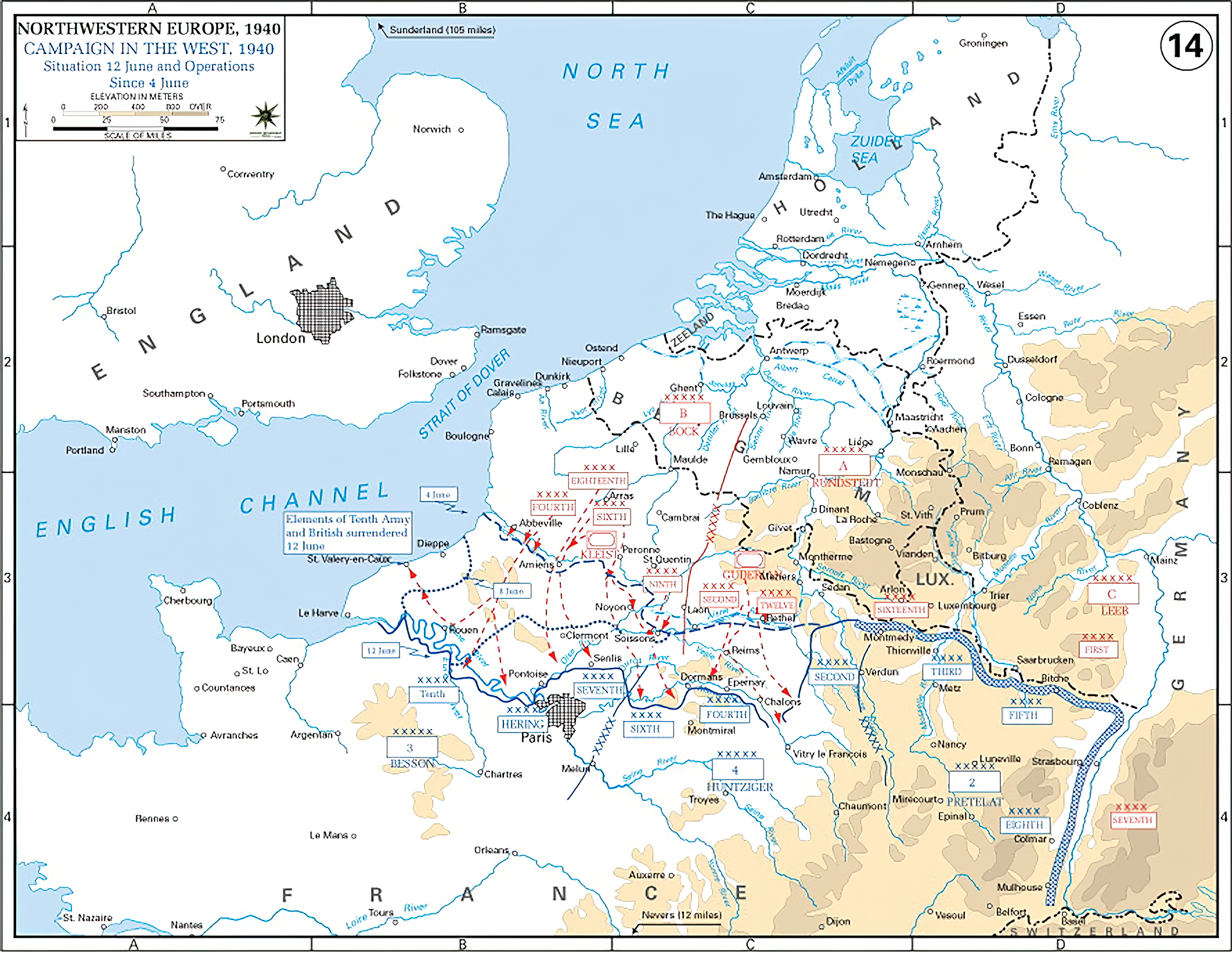 A map showing German offensive to the Seine River between 4th and 12th June 1940 wiki 0A