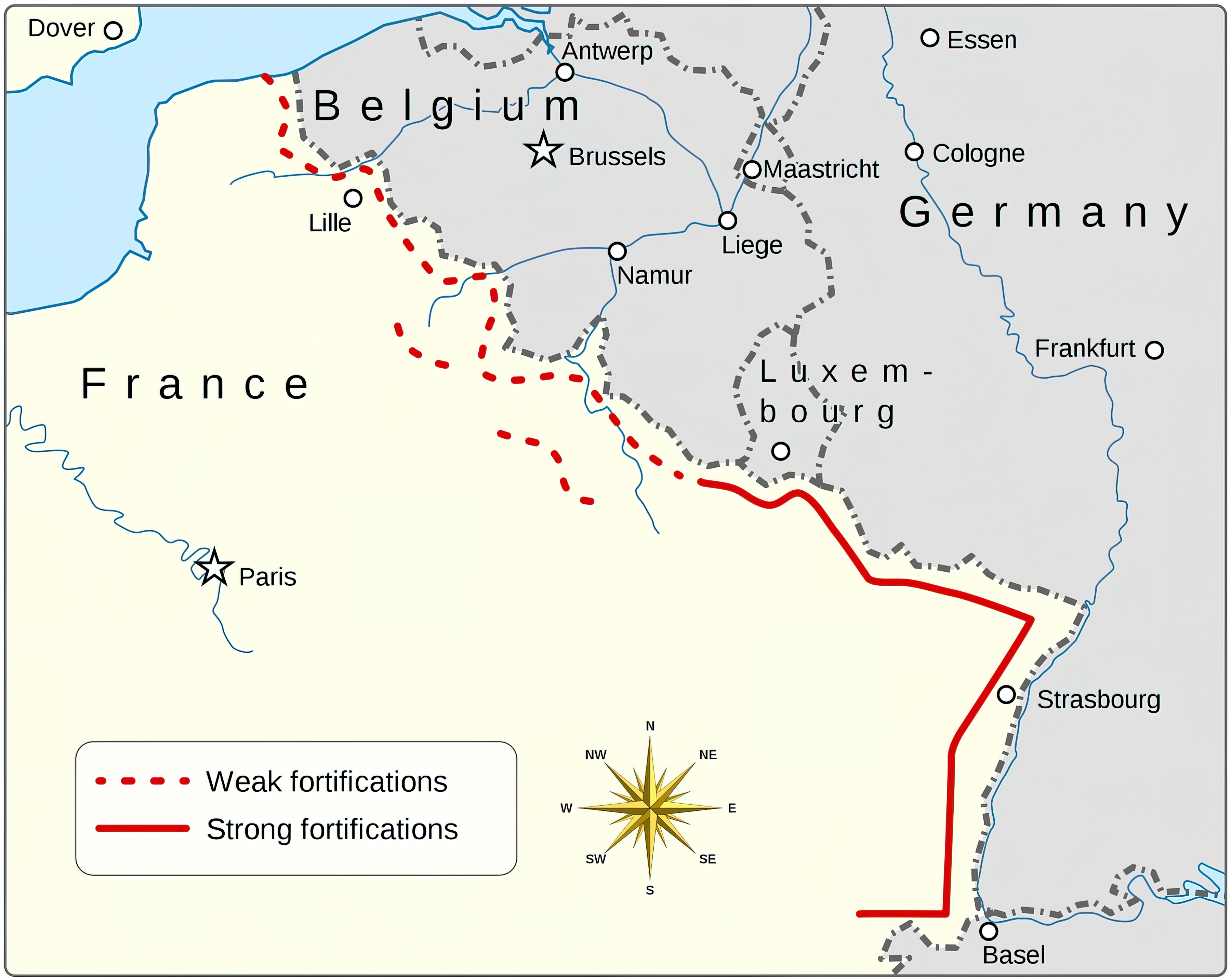 A map showing Maginot Line 1940 wiki 0A