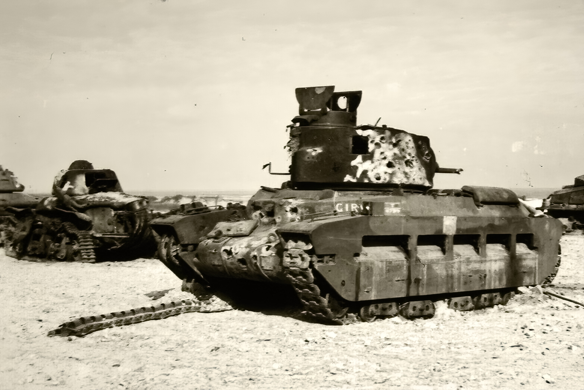 British Matilda abandoned with French Renault R35 during battle of France 1940 ebay 02