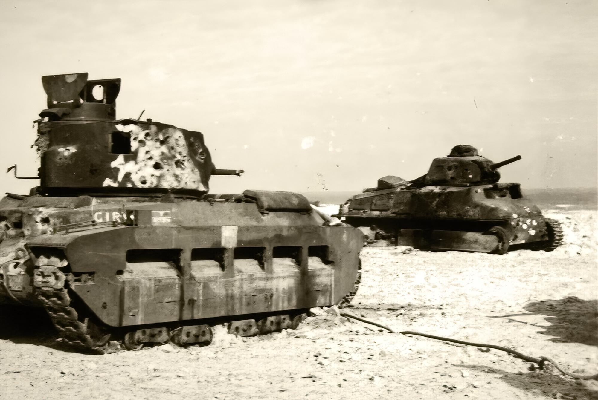British Matilda abandoned with French Somua S35 during battle of France 1940 ebay 01