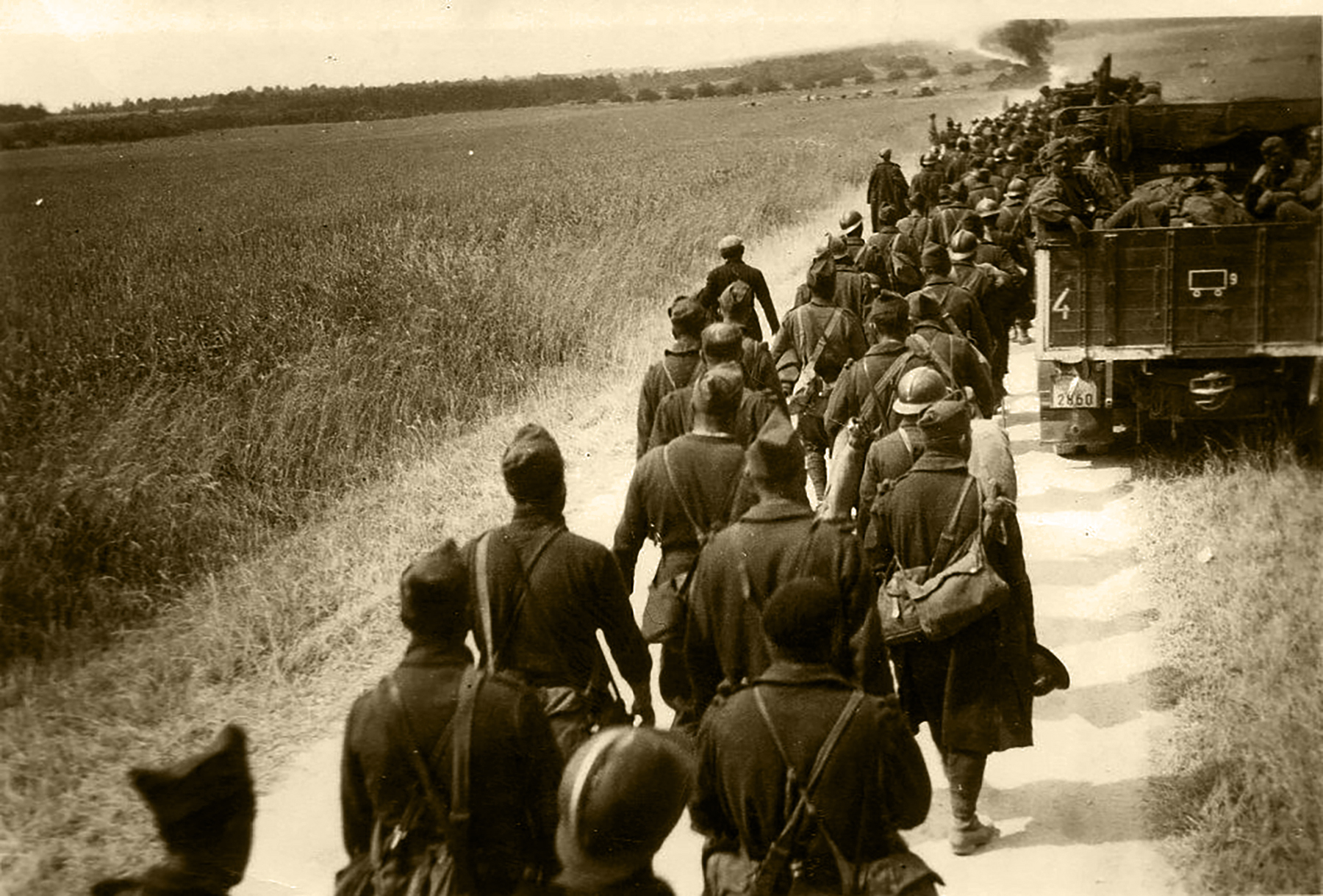 Column of French POWs being marched towards internment June 1940 01