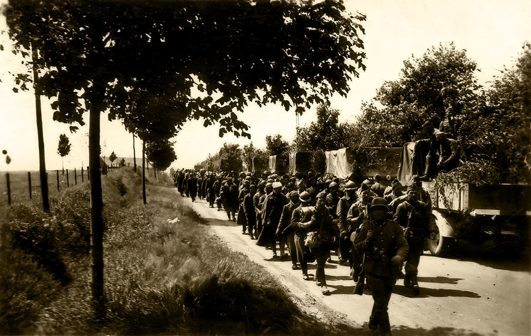 Column of French POWs being marched towards internment June 1940 02