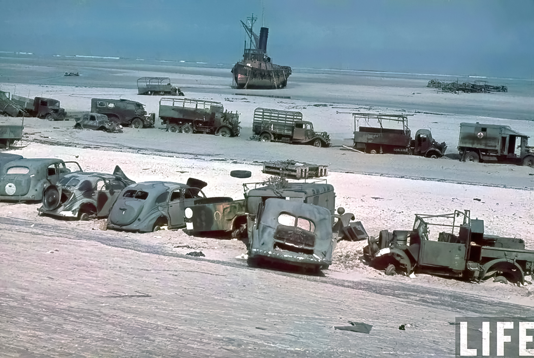 Dunkirk littered with destroyed vehicles after the BEF withdrawal from France 12th Jun 1940 01