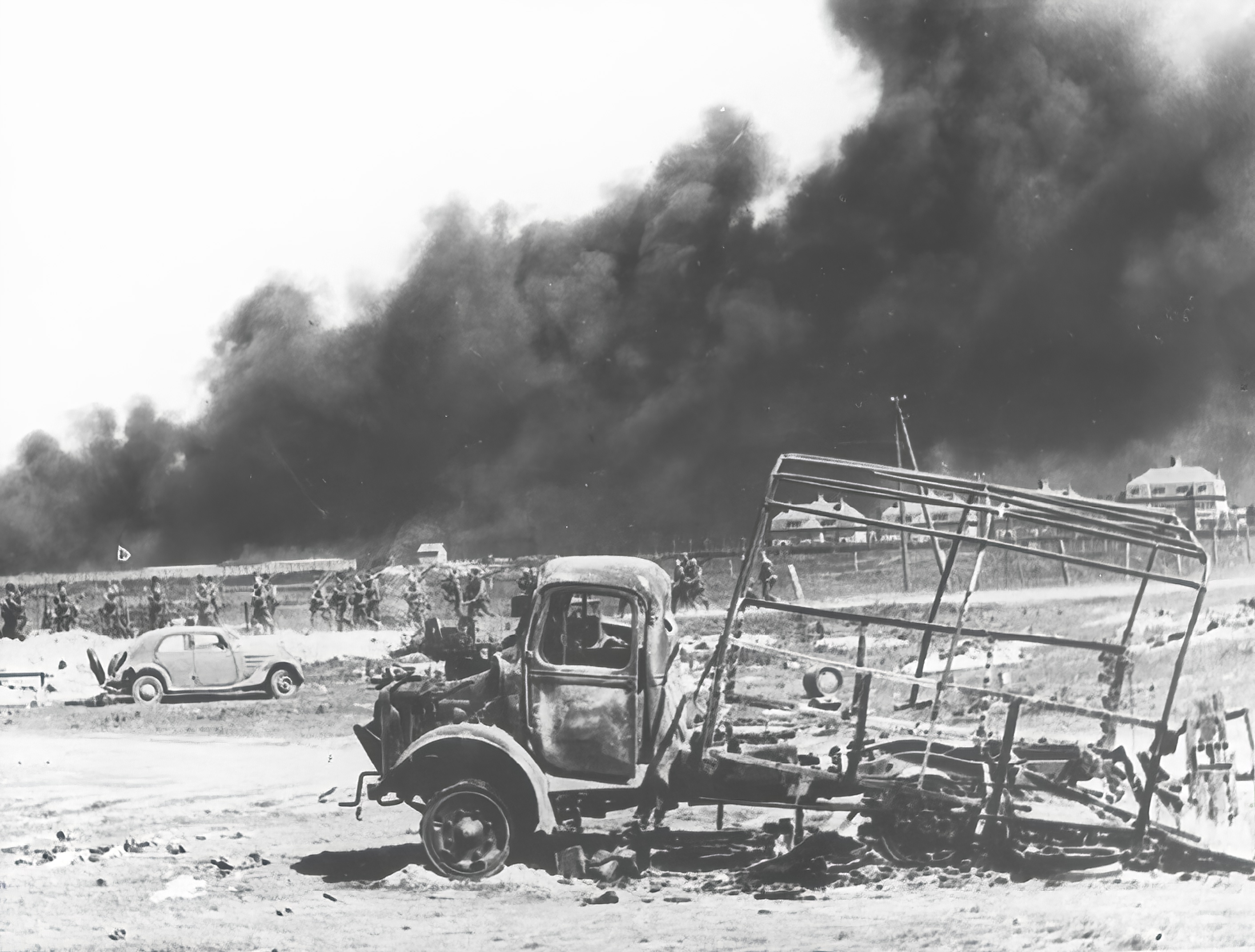 Dunkirk littered with destroyed vehicles after the BEF withdrawal from France 12th Jun 1940 NIOD