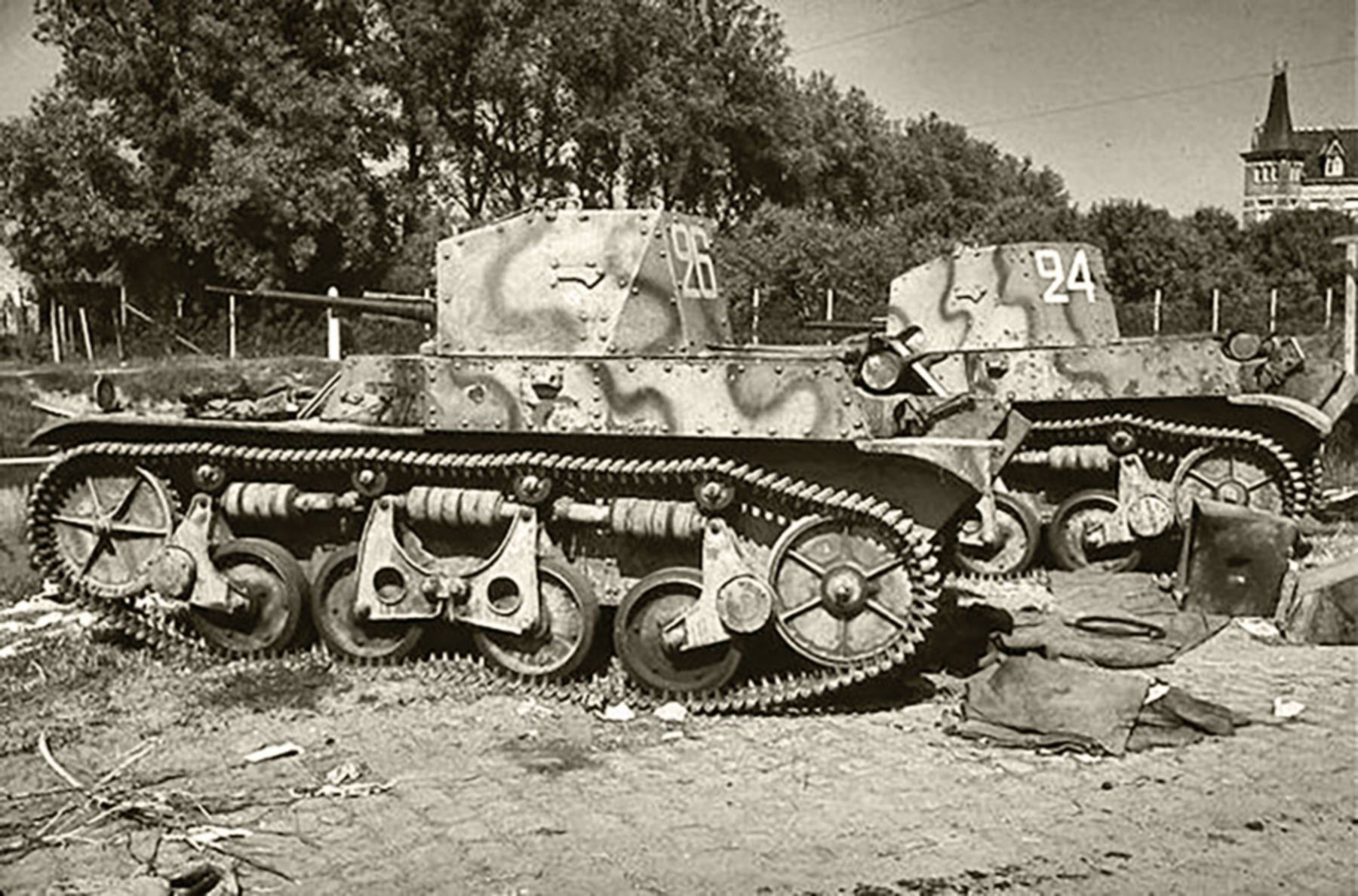 French Army Renault Char AMR 35 White 26 and 24 abandoned battle of France 1940 web 01