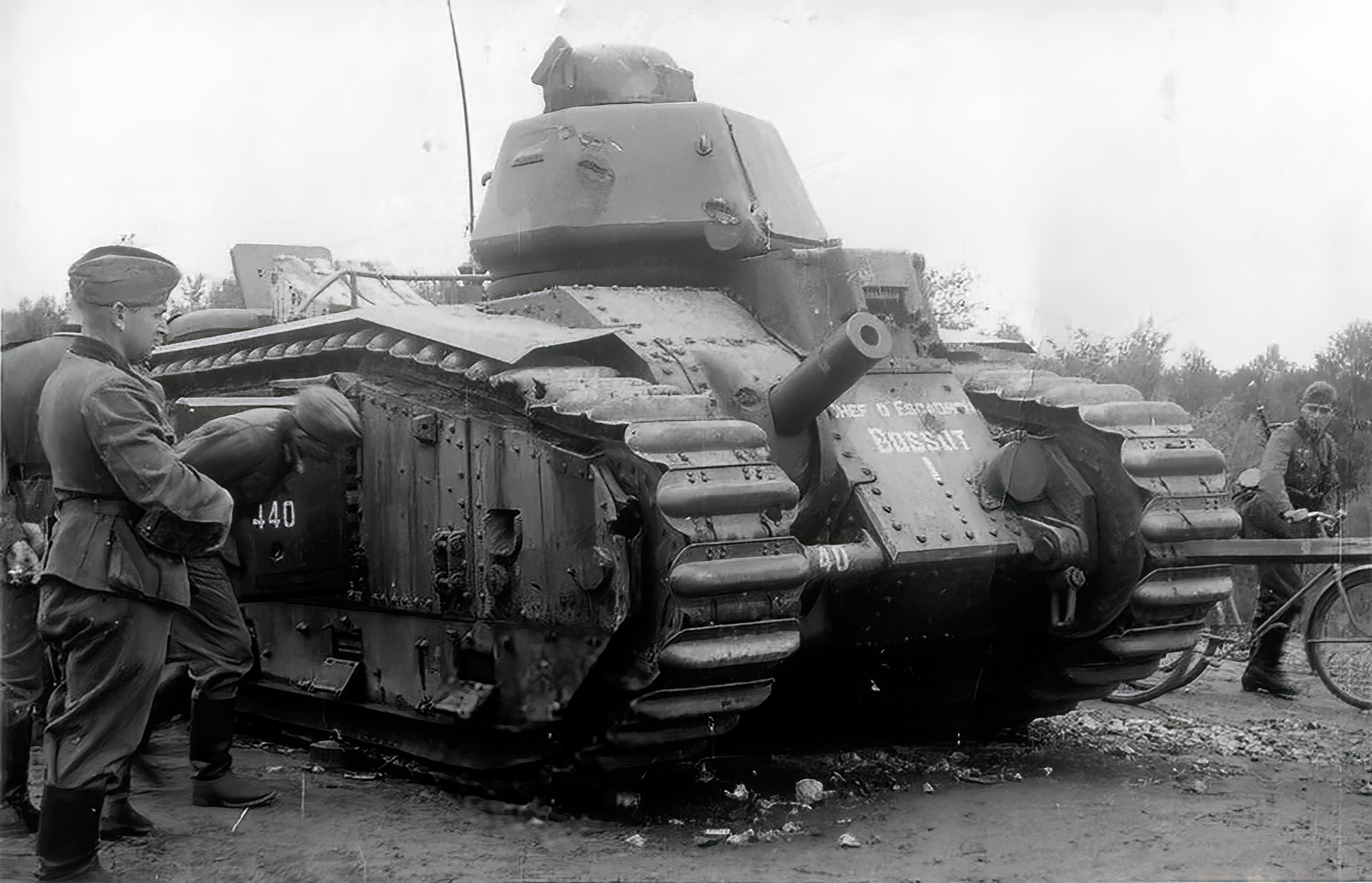 French Army Renault Char B1 named Bossut I 440 examined by German soldiers Battle of France 1940 01