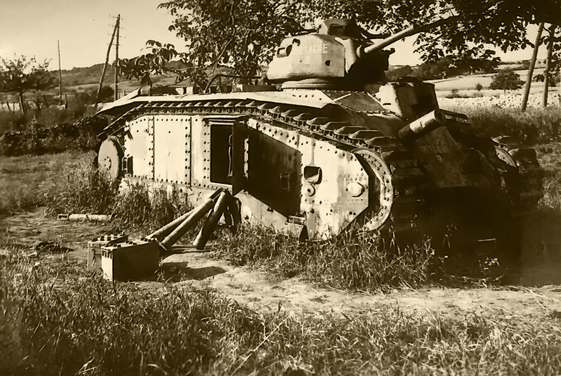 French Army Renault Char B1 named Bretagne Brittany being disarmed France 1940 ebay 01