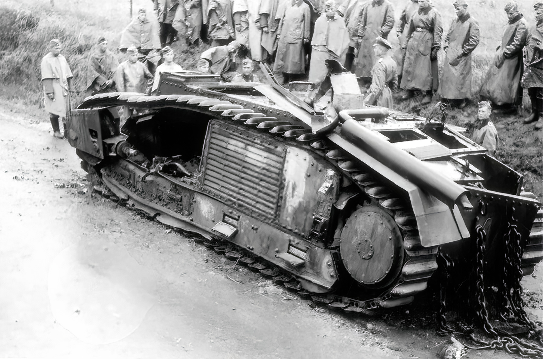 French Army Renault Char B1bis being examined by German soldiers France 1940 01