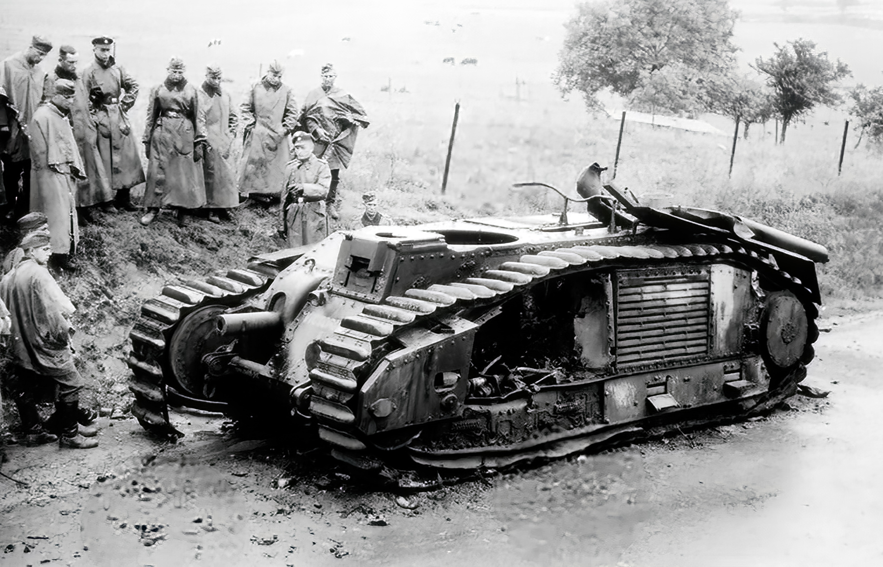 French Army Renault Char B1bis being examined by German soldiers France 1940 02