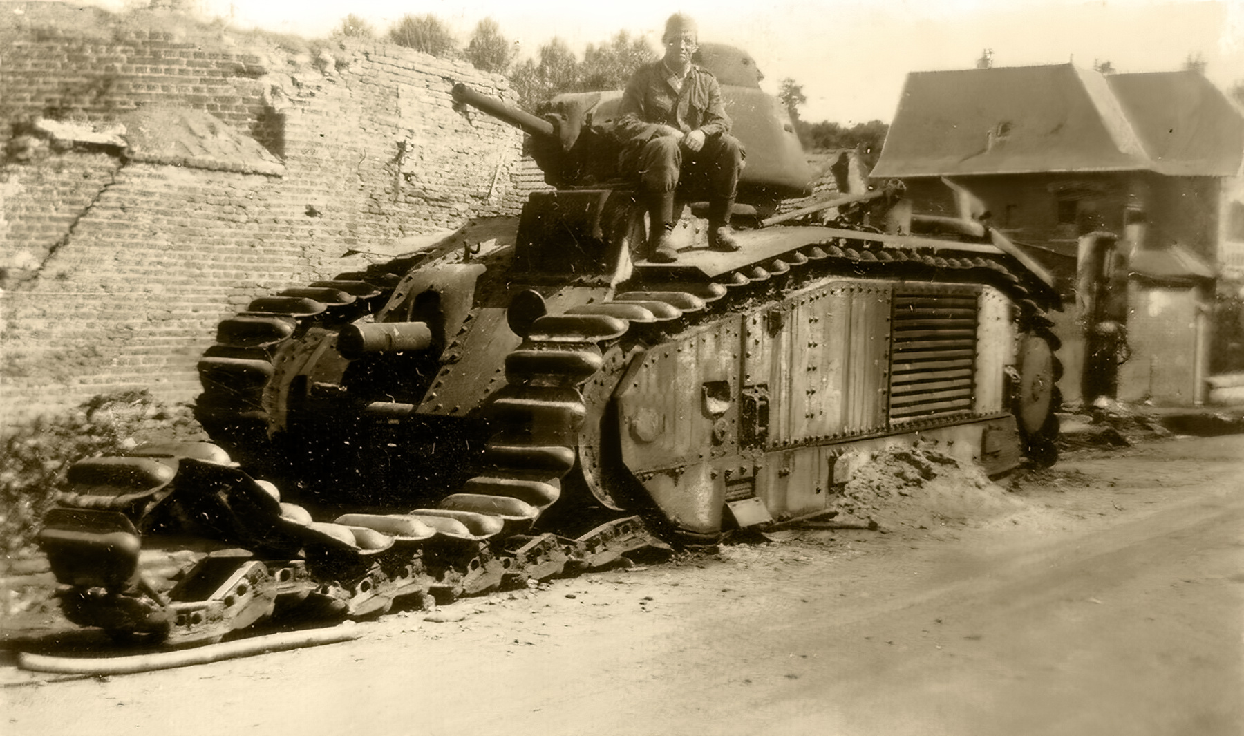 French Army Renault Char B1bis knocked out Saint Simon France May 1940 ebay 01