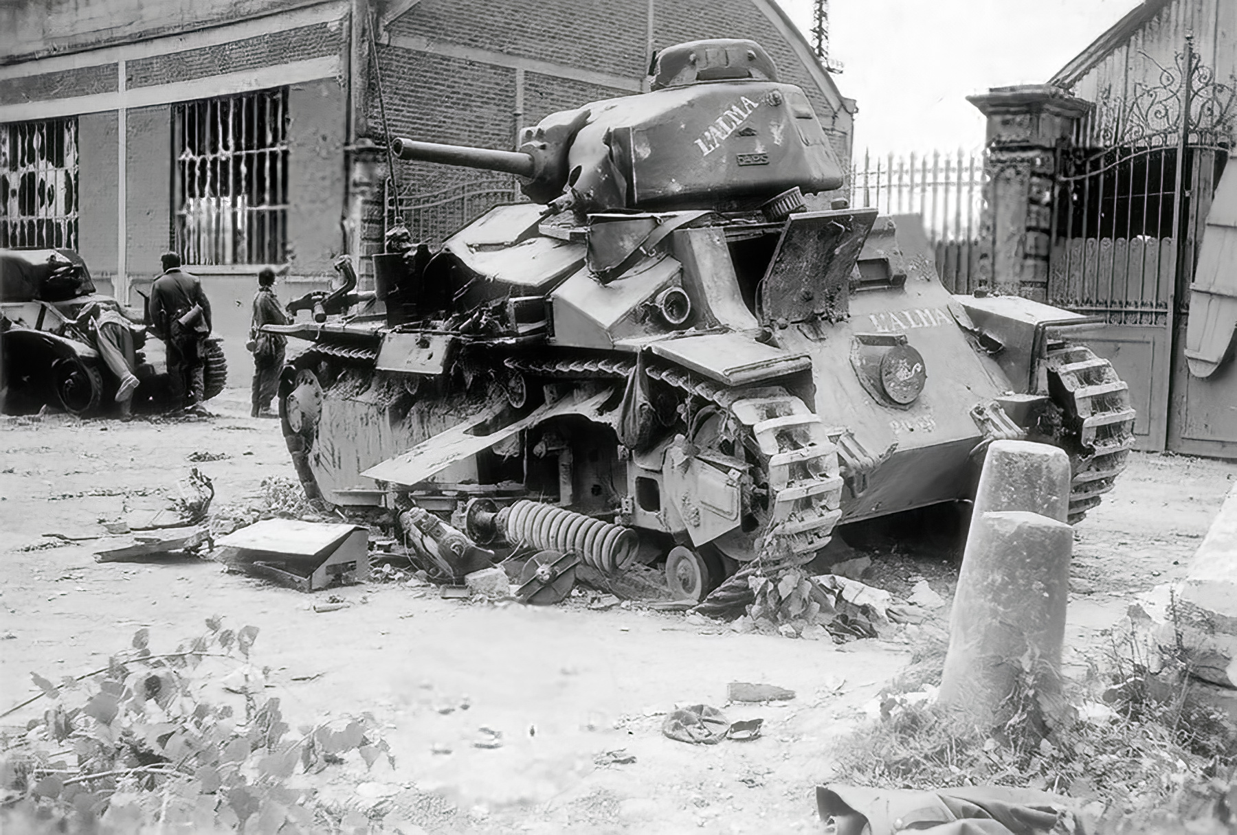French Army Renault D2 tank named LALMA knocked out by German forces May Jun 1940 01