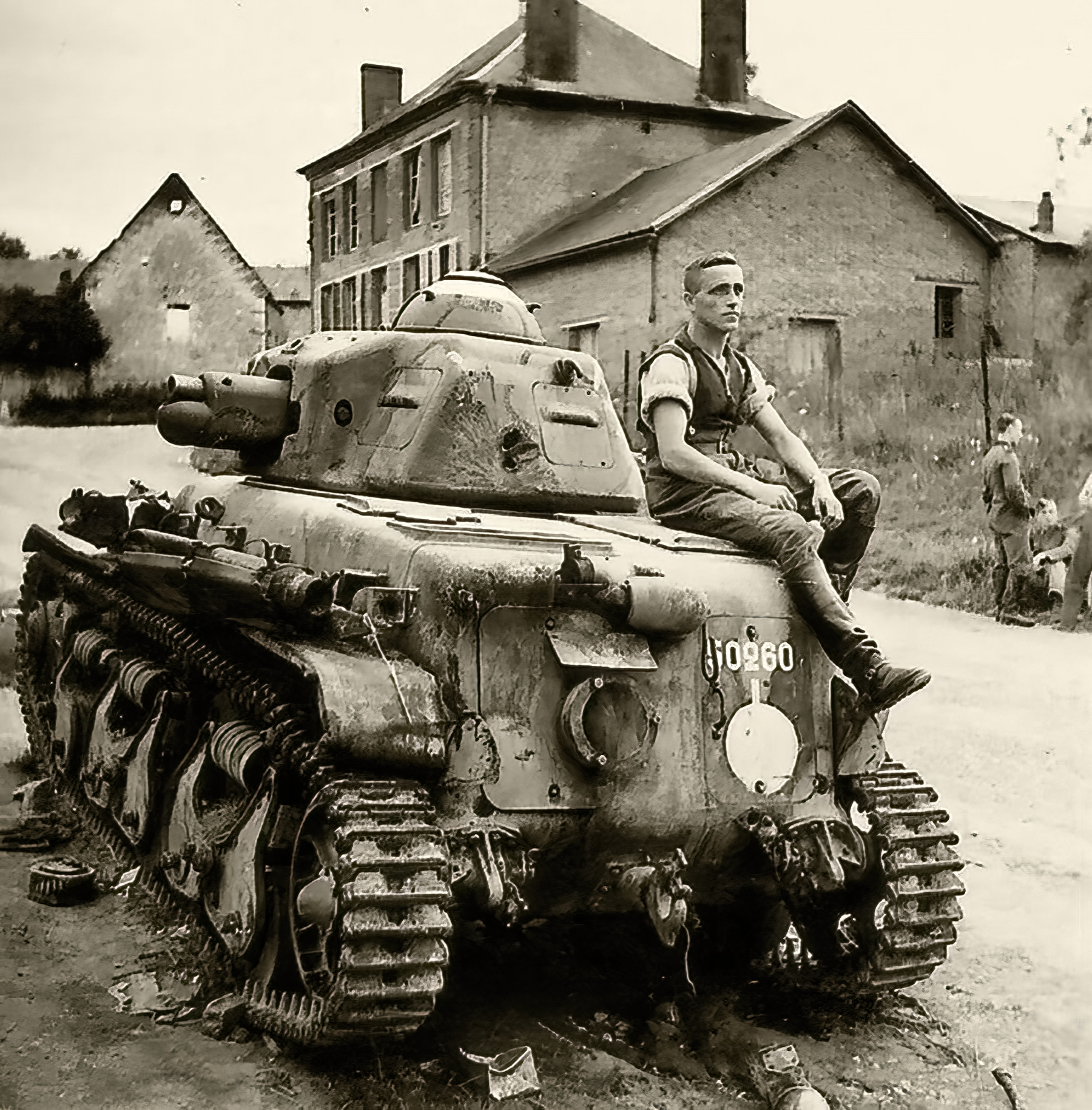 French Army Renault R35 support tank 24eme Bataillon snI50260 knocked France 1940 web 01