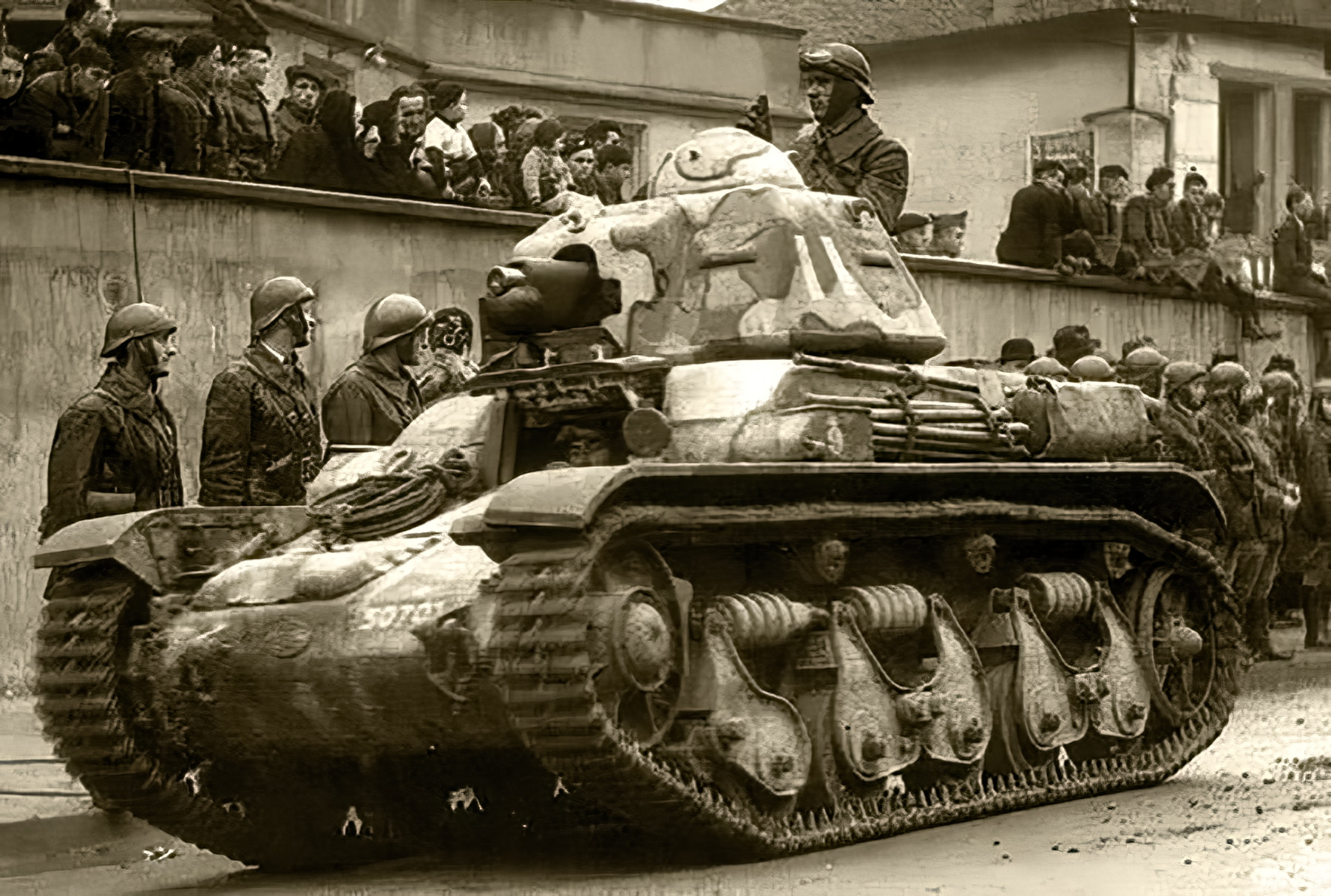 French Army Renault R35 support tank military parade France 1940 web 01