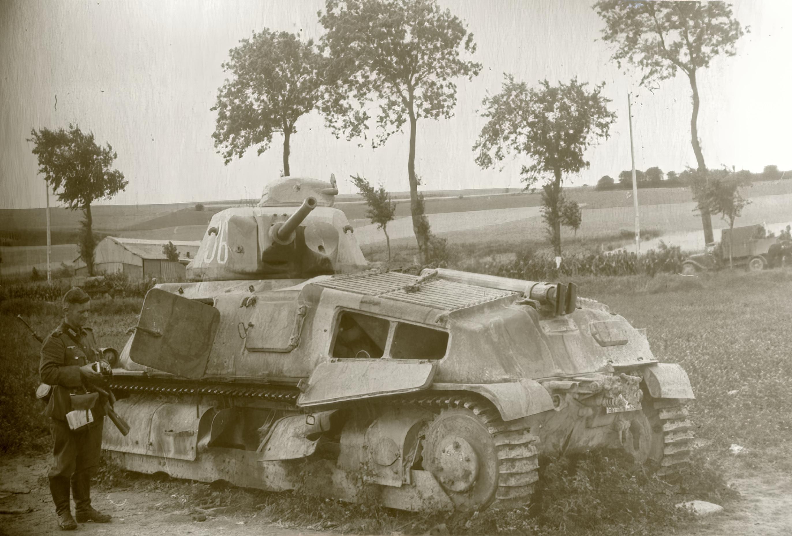 French Army Somua S35 White 36 abandoned along a roadside France June 1940 ebay 02