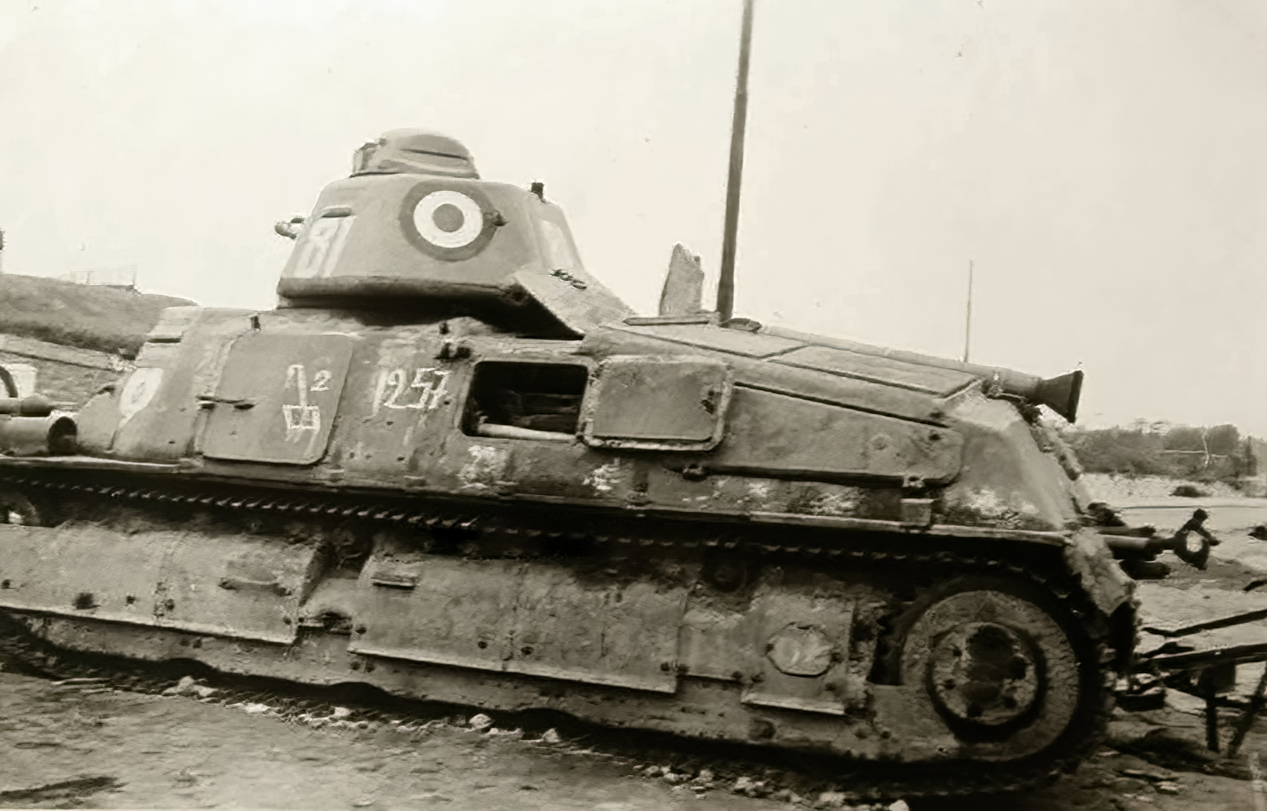French Army Somua S35 White 81 abandoned along a roadside France June 1940 ebay 01