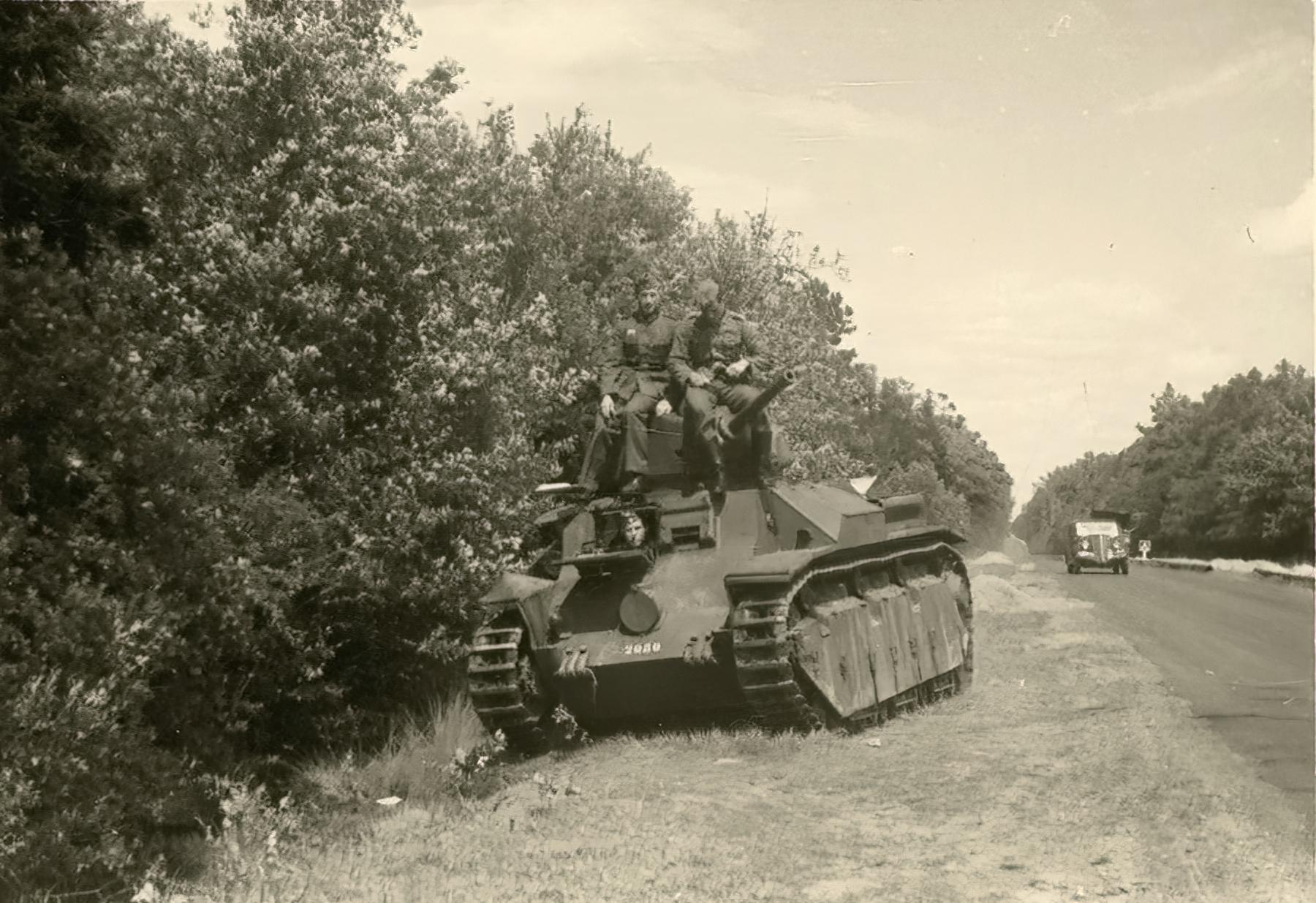 French Army Somua S35 sits abandoned along a roadside France June 1940 ebay 01