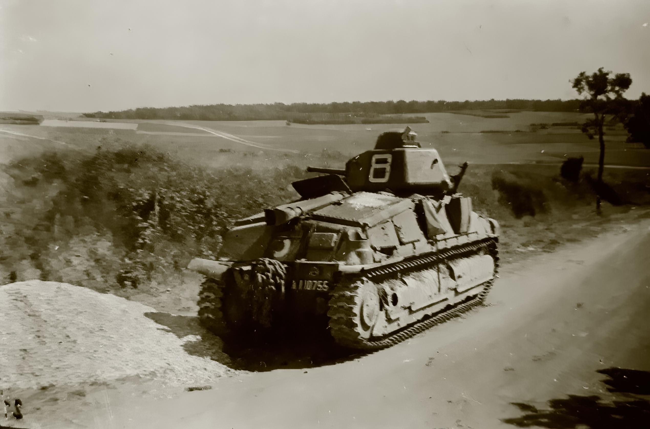 French Army Somua S35 sn 10755 White 8 abandoned along a roadside France June 1940 ebay 01