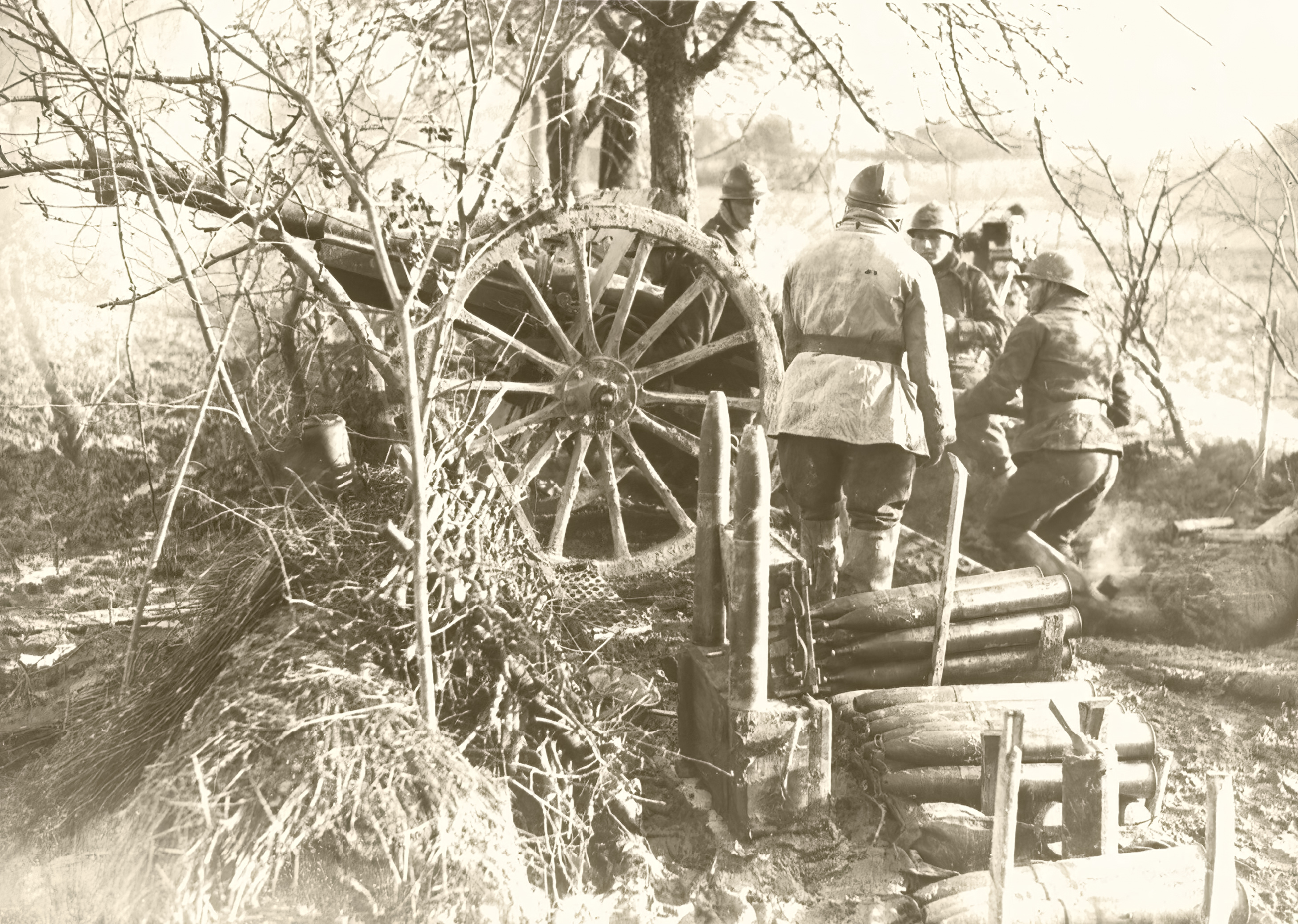 French Army manoeuvre a 75mm battery during the phoney war 14th Dec 1939 NIOD