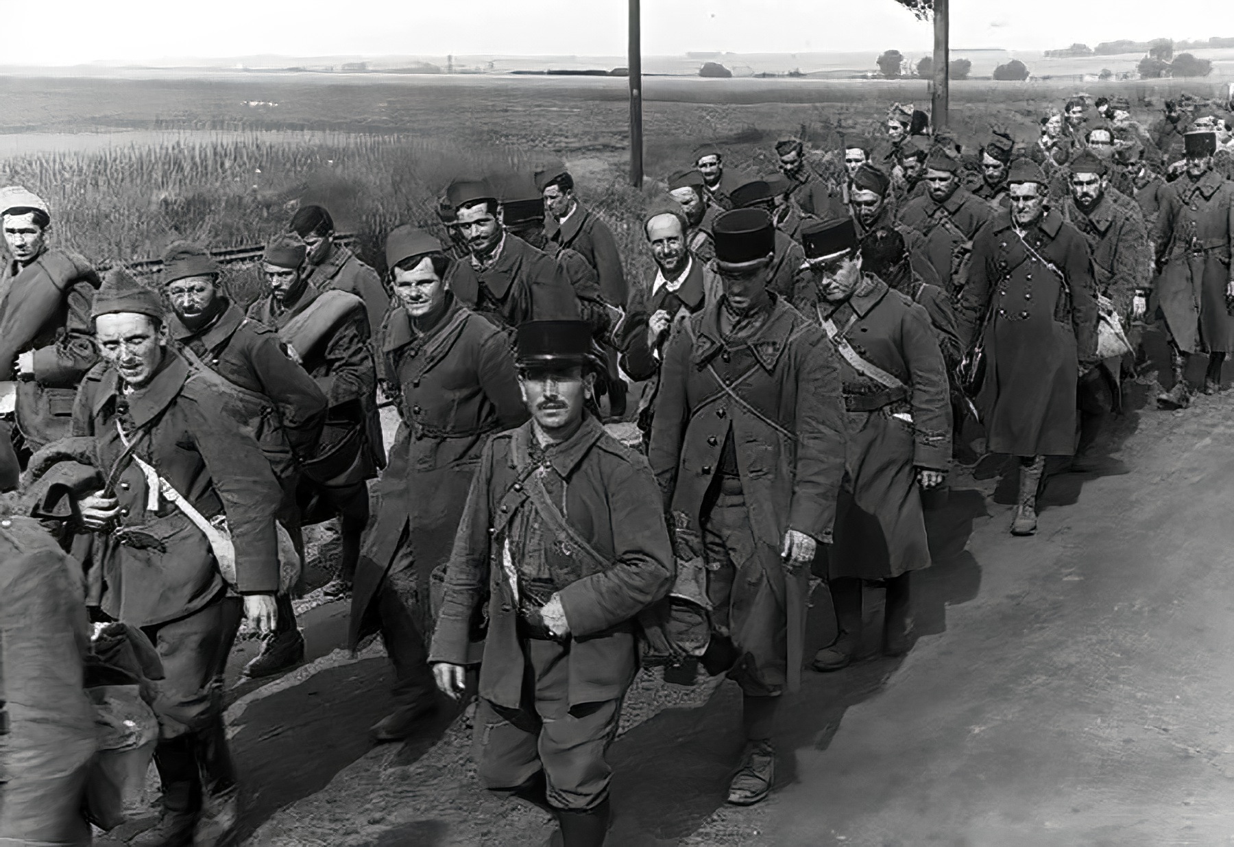 French POWs prisoners of war are marched into internment wiki 01