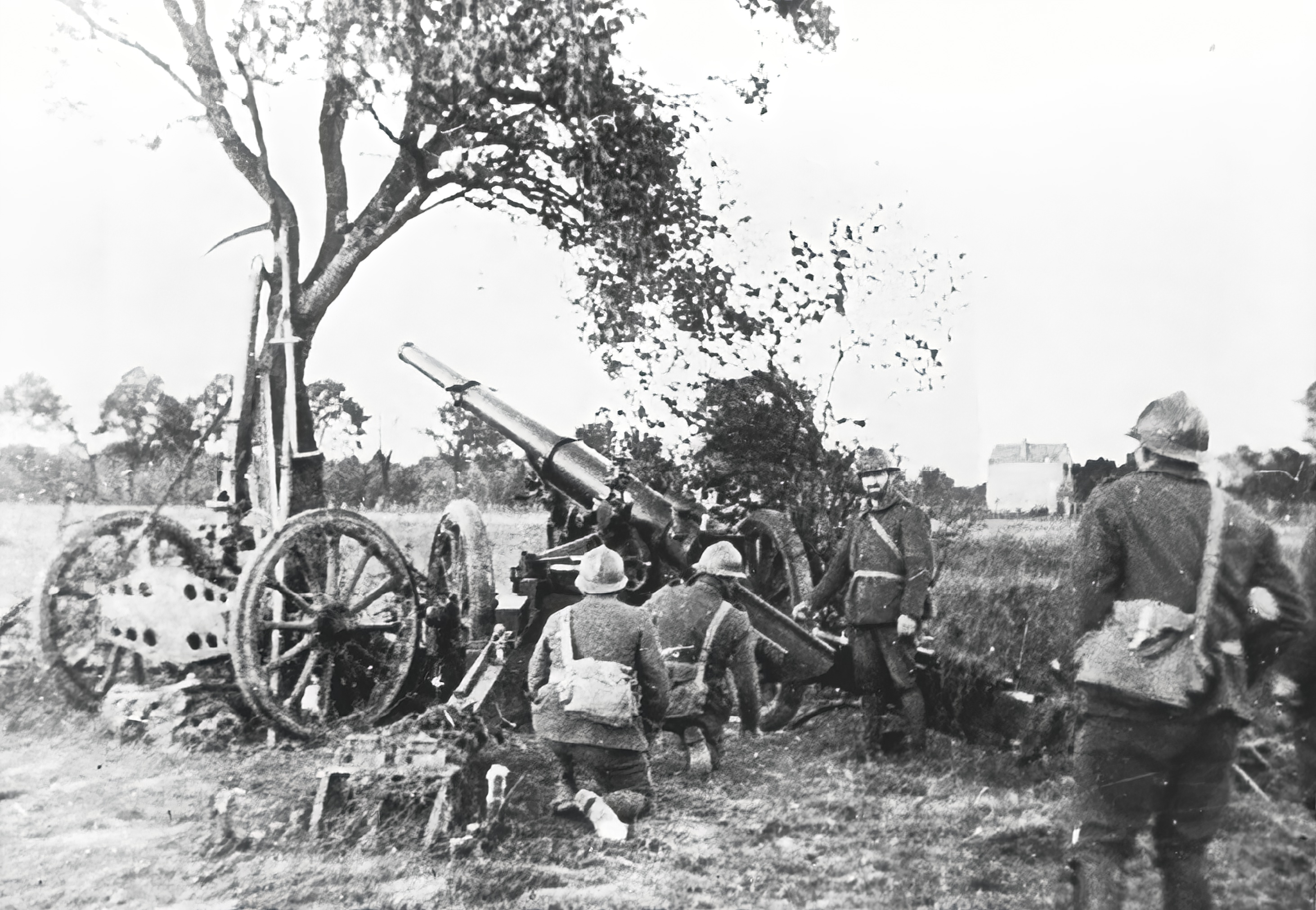 French artillery being deployed during manoeuvres during the Phoney War period 13th Oct 1939 NIOD
