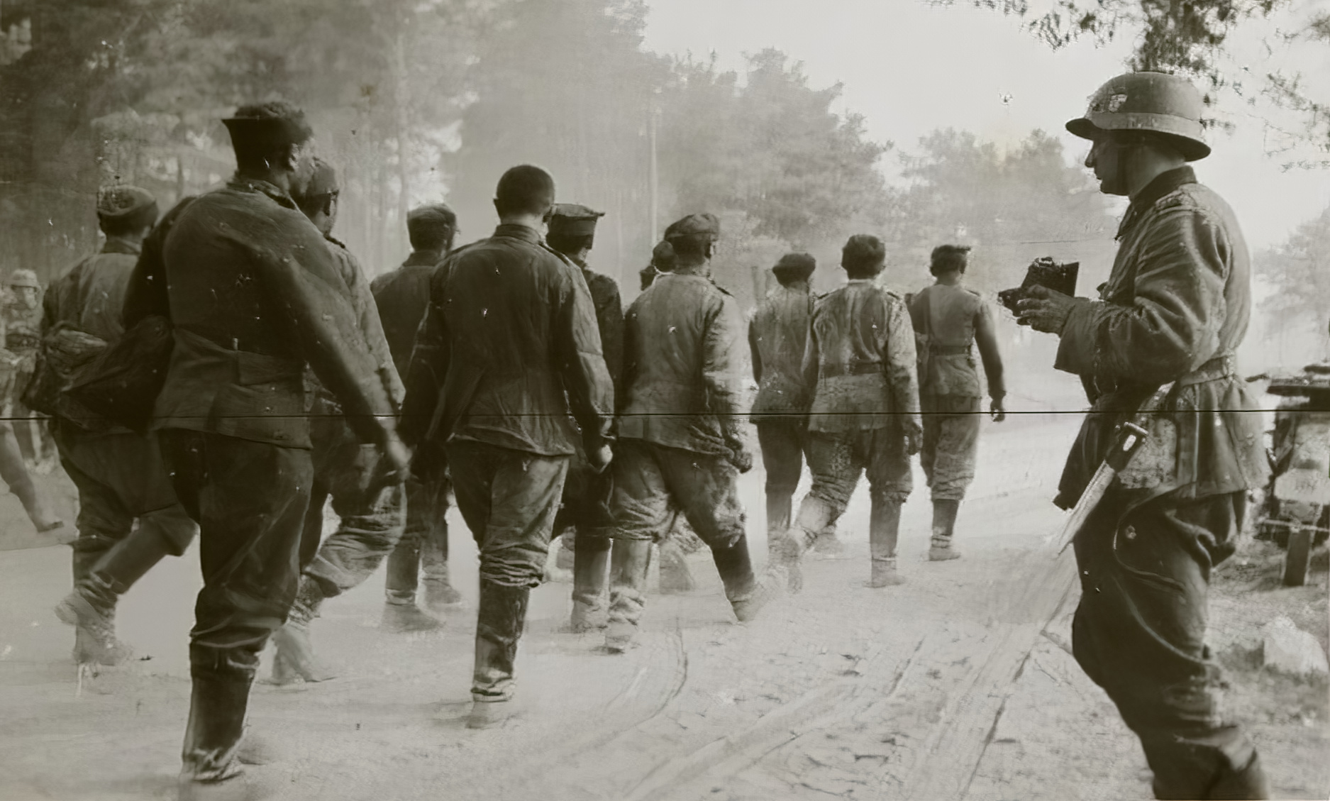 French soldiers being marched towards internment June 1940 ebay 01