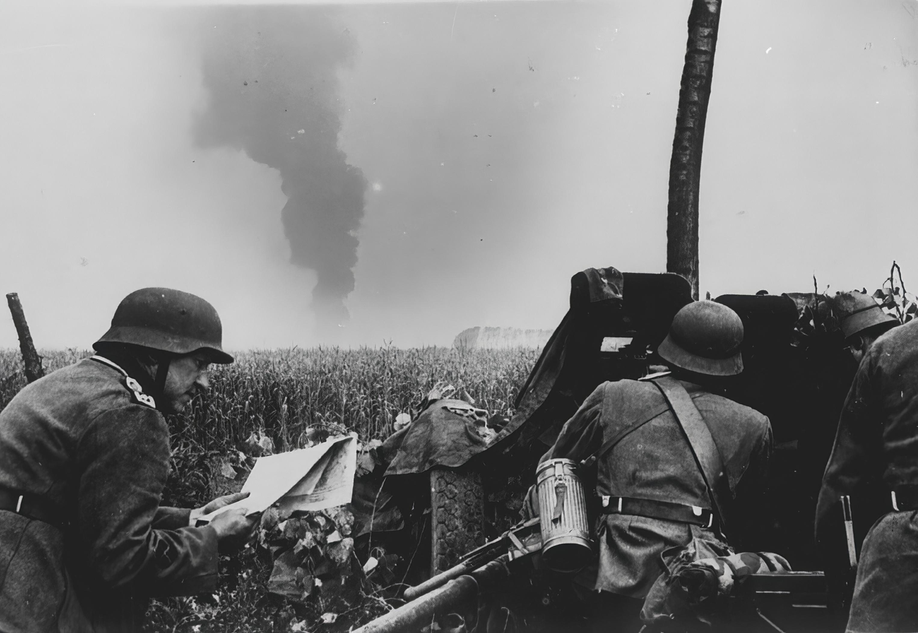 German Pak anti tank unit advancing into Belgium 30th May 1940 NIOD