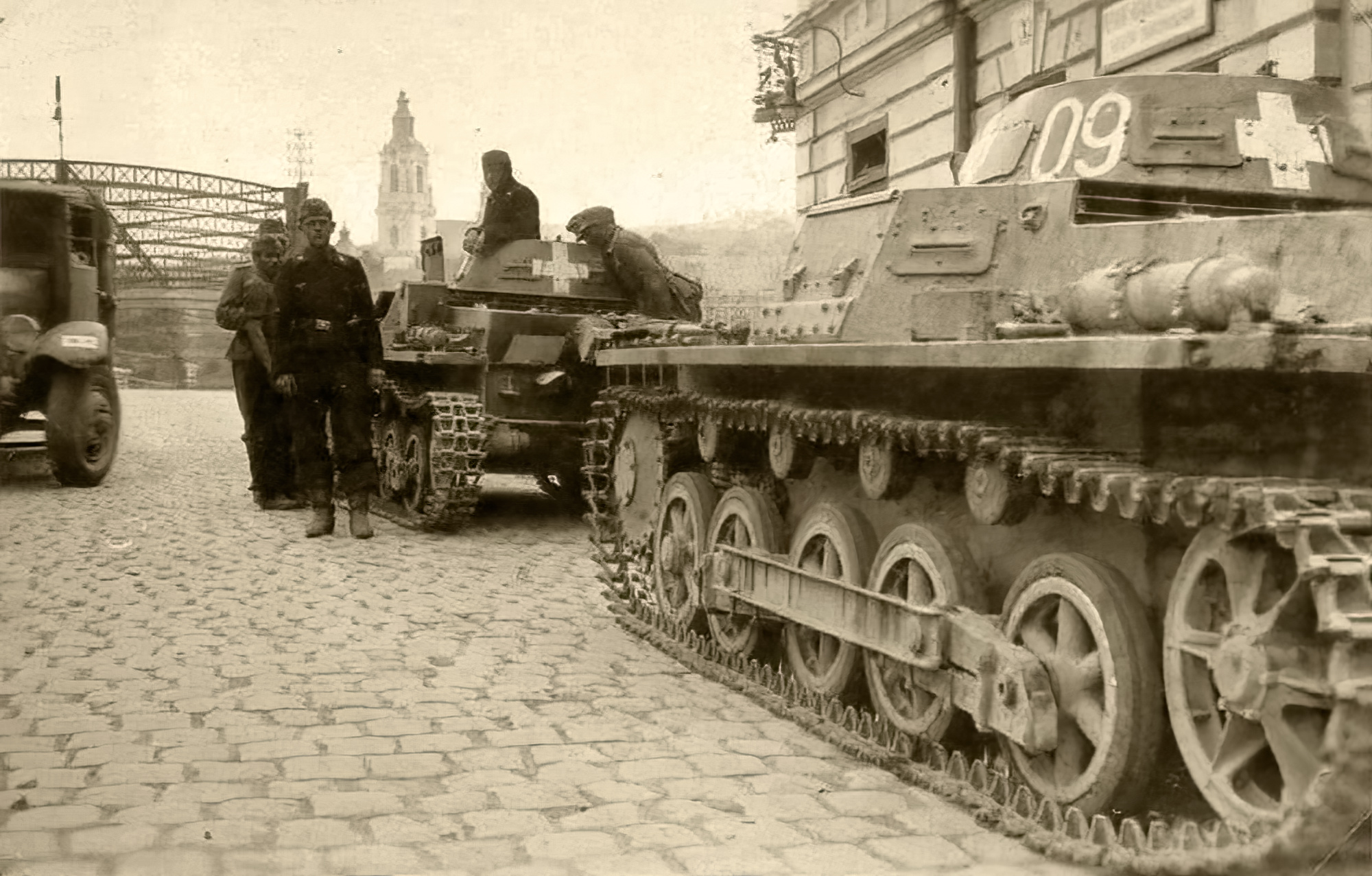 Wehrmacht Panzer I PzKpfw 1 with Cambrai church tower background Cambrai France 1940 ebay 01