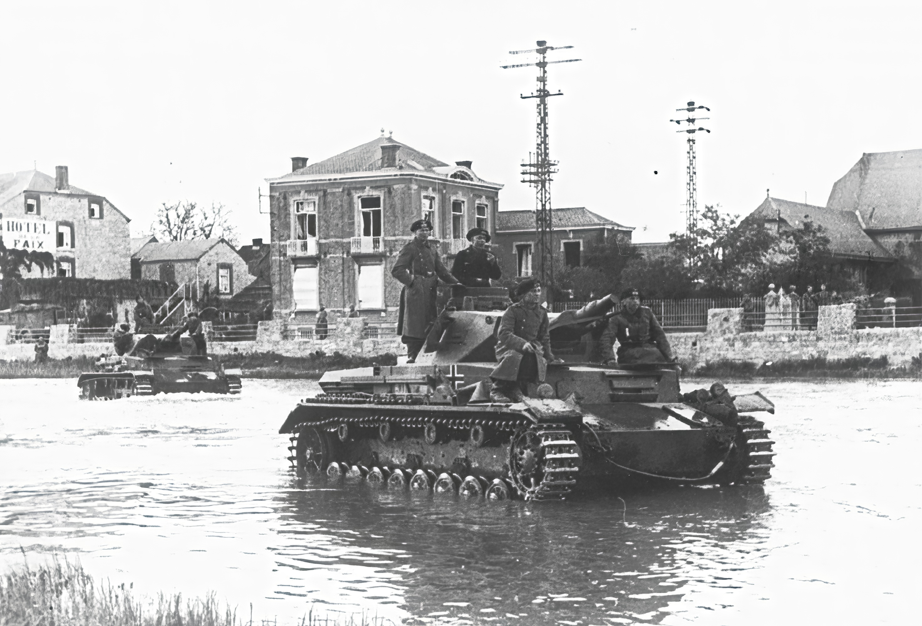 Wehrmacht Panzer III tanks advancing into Belgium 20th May 1940 NIOD