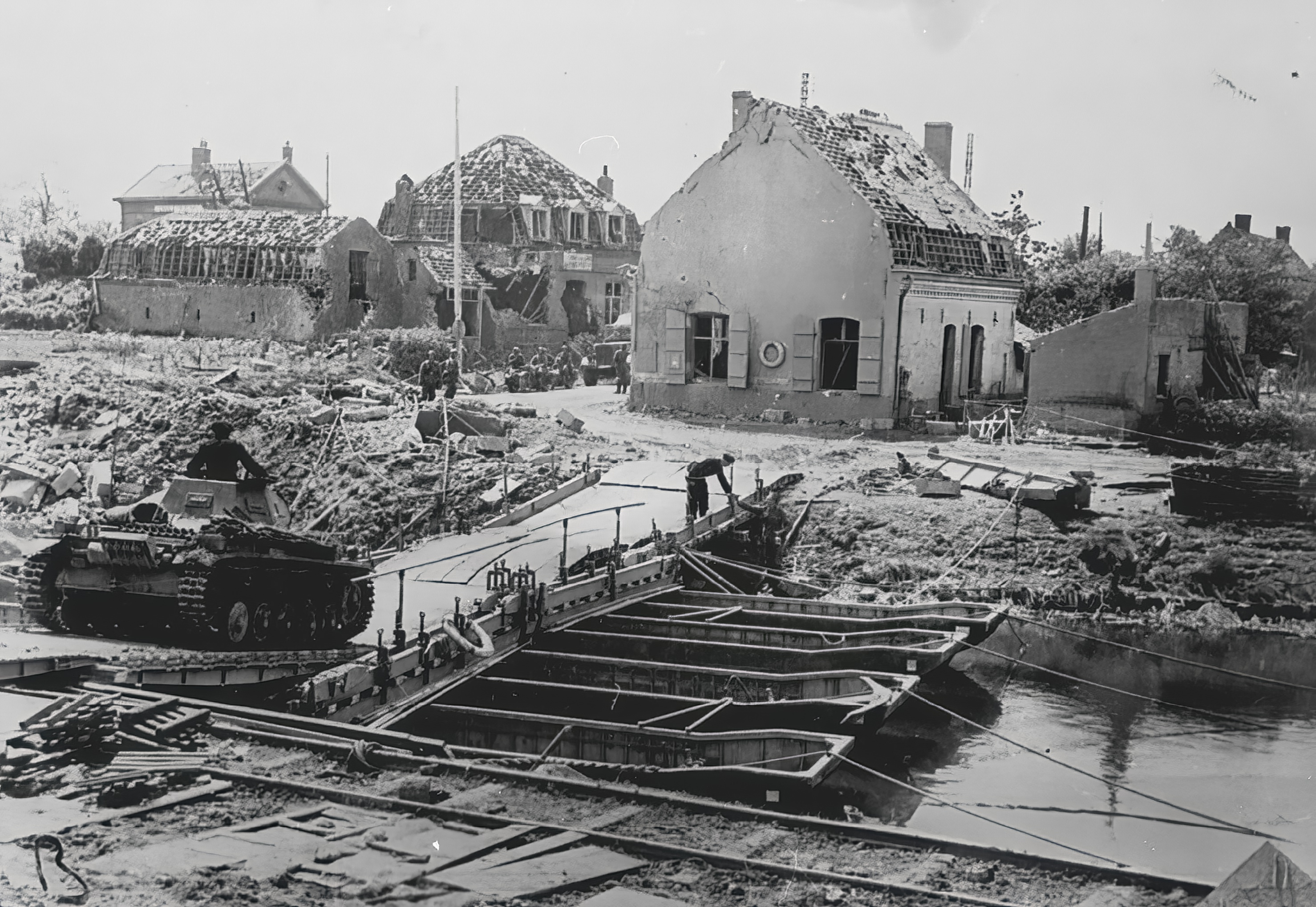 Wehrmacht tank crossing a bridge over the Canal de Aire France 6th May 1940 NIOD