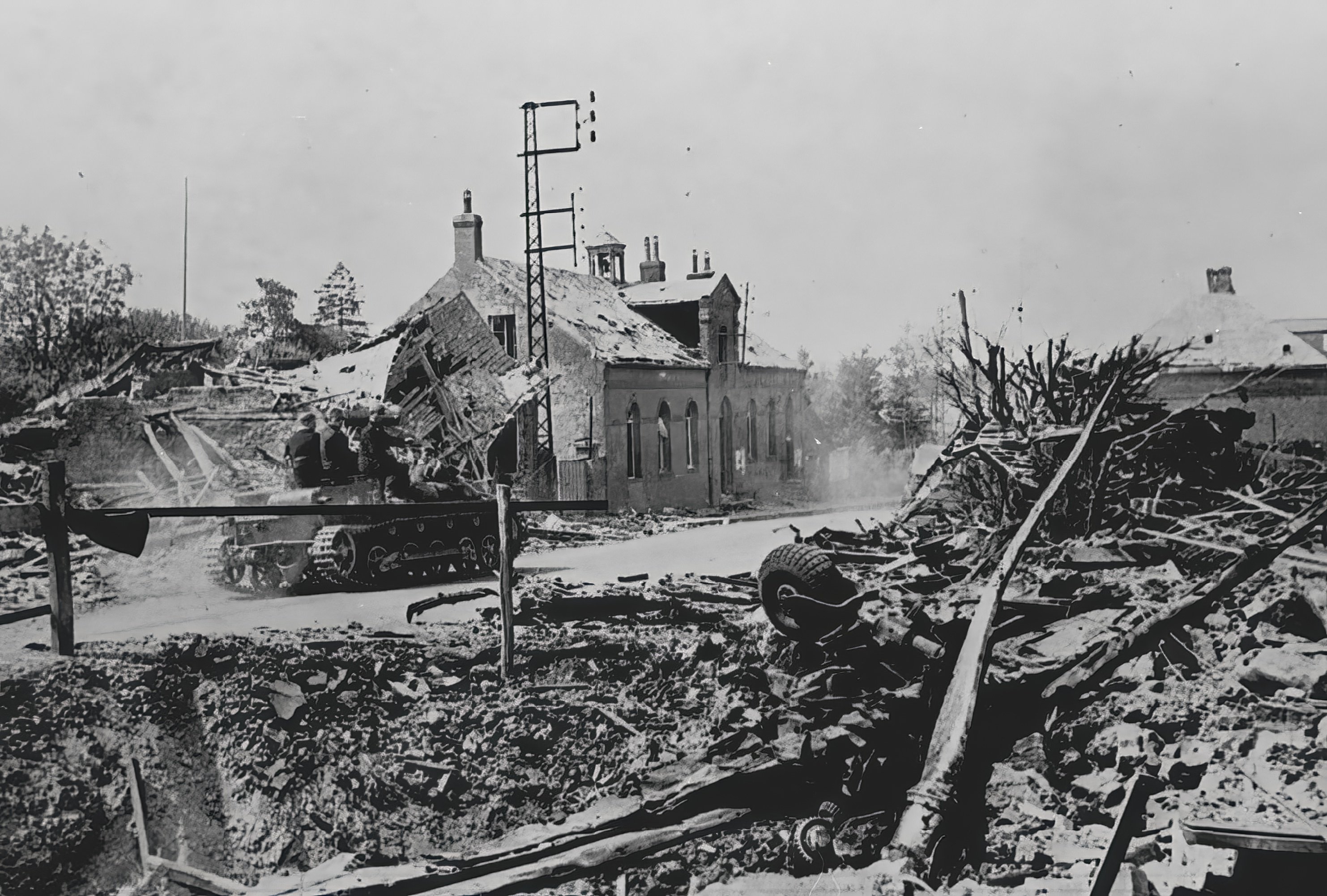 Wehrmacht tank passes a downed French bomber La Vallee France 2nd Jun 1940 NIOD
