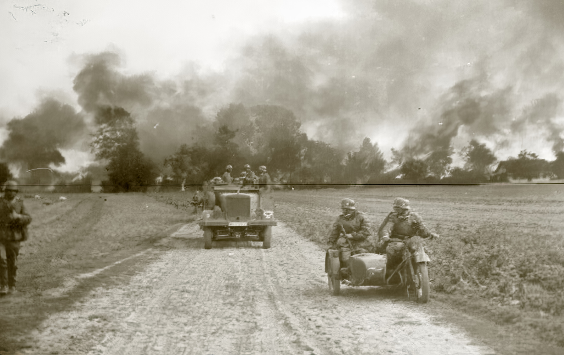 Wehrmacht troop column advance through a unknown village leaving a trail of distruction 1940 ebay 01