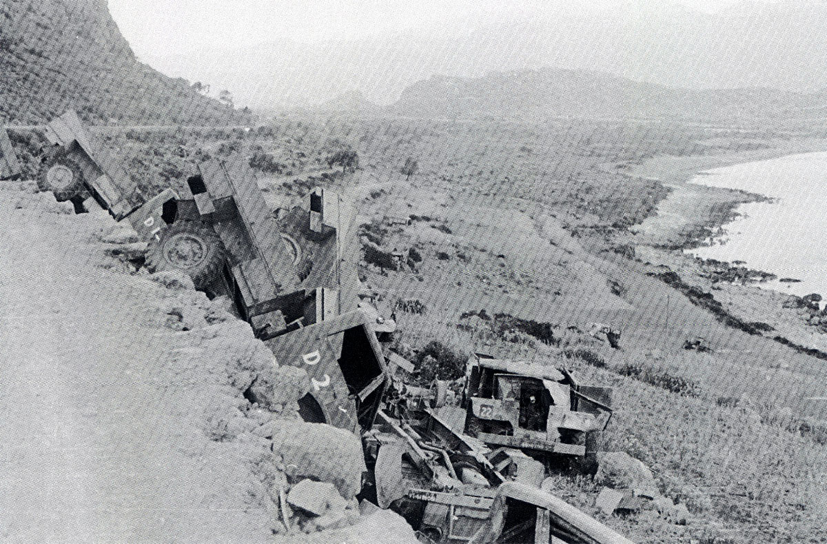 British vehicles lie abandoned after being destroyed by retreating forces Greece 1941 01