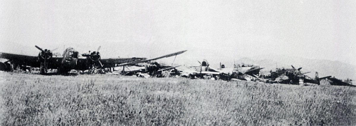 Destroyed aircraft at Larissa airfield 1941 01