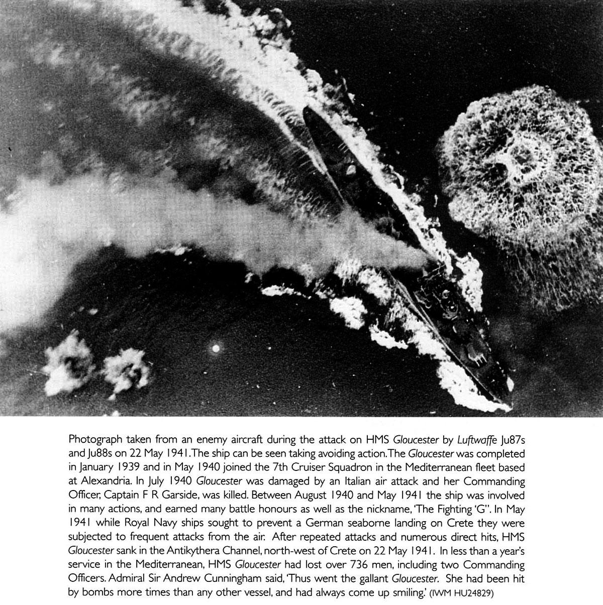 Luftwaffe Ju87s and Ju88s attacking HMS Gloucester Antikythera Channel Crete 22nd May 1941 01