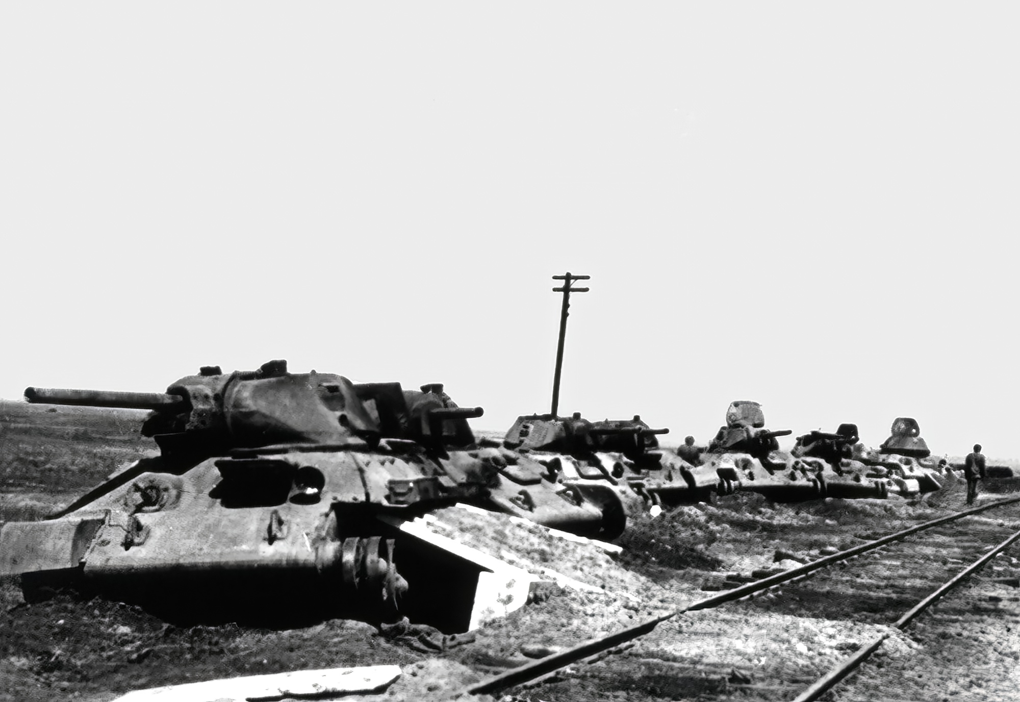 Asisbiz Soviet T 34 tanks destroyed near a railway assembly point by German  bombers 01