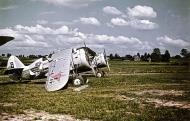 Soviet AF Polikarpov I 153 Chaika Black 8 destroyed on the ground by Luftwaffe straffing Barbarossa