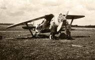 Soviet AF Polikarpov I 153 Chaika Red 59 destroyed on the ground by Luftwaffe straffing Barbarossa