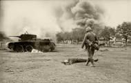Soviet BT 7 light tank burns after a battle with German forces 01