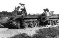 Soviet BT 7 light tanks lie abandoned after a battle with German forces 01