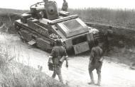 Soviet T 28 medium tank lies abandoned after a possible mechanical break down Ukraine July 1941